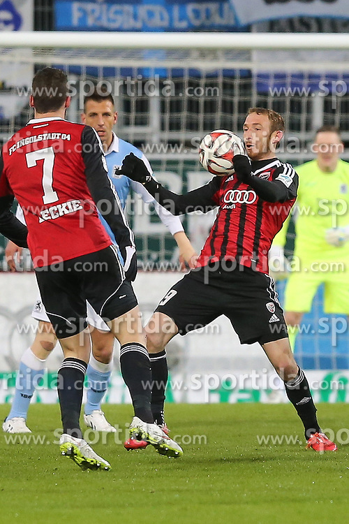 02.03.2015, Audi Sportpark, Ingolstadt, GER, 2. FBL, FC Ingolstadt 04 vs TSV 1860 M&uuml;nchen, 23. Runde, im Bild Moritz Hartmann (Nr.9, FC Ingolstadt 04) stopppt den Ball // during the 2nd German Bundesliga 23rd round match between FC Ingolstadt 04 and TSV 1860 M&uuml;nchen at the Audi Sportpark in Ingolstadt, Germany on 2015/03/02. EXPA Pictures &copy; 2015, PhotoCredit: EXPA/ Eibner-Pressefoto/ Strisch<br /> <br /> *****ATTENTION - OUT of GER*****