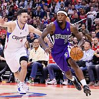 23 November 2013: Sacramento Kings small forward John Salmons (5) drives past Los Angeles Clippers shooting guard J.J. Redick (4) during the Los Angeles Clippers 103-102 victory over the Sacramento Kings at the Staples Center, Los Angeles, California, USA.