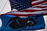 January 17, 2016: Carolina Panthers vs Seattle Seahawks. A Panthers flag waves with an American flag