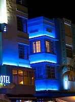 "Historical motels in South Beach famous ""Ocean Drive"" at night."