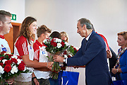 Warsaw, Poland - 2017 October 03: (L) Marta Wieliczko (Wisla Grudziadz) Polish rower W4- and Jan Widera Deputy Minister of Sport during press conference of Polish Rowing National Team at Chopin Airport on October 03, 2017 in Warsaw, Poland.<br /> <br /> Mandatory credit:<br /> Photo by &copy; Adam Nurkiewicz / Mediasport<br /> <br /> Adam Nurkiewicz declares that he has no rights to the image of people at the photographs of his authorship.<br /> <br /> Picture also available in RAW (NEF) or TIFF format on special request.<br /> <br /> Any editorial, commercial or promotional use requires written permission from the author of image.