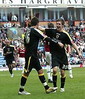 Photo: Paul Greenwood/Richard Lane Photography. <br />Burnley v Cardiff City. Coca-Cola Championship. 26/04/2008. <br />Cardiff goalscorers Joe Ledley, (L) and Aaron Ramsey celebrate