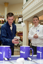 "Cadburys Spots vs Stripes Challenge Race Season Meadowhall Sheffield.Brett Riley, Ryan Kitchen and Billy McPherson try thier hand at the ""Fastest Tea Maker"" Challenge.2 April 2011.Images © Paul David Drabble"