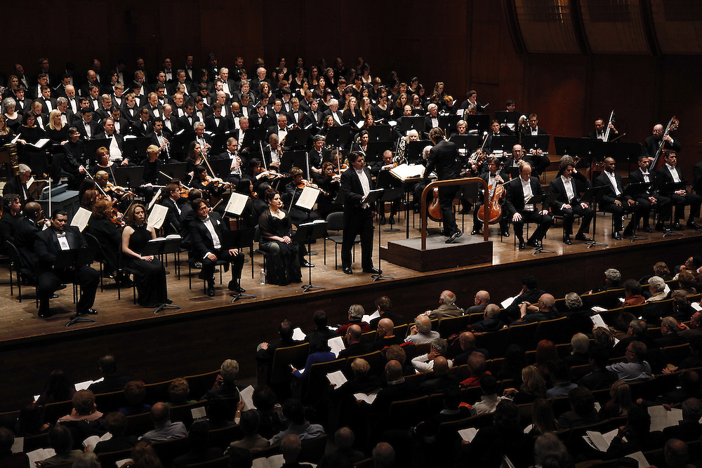 "(L-R) Tenor Arnold Rawls, Mezzo-Soprano Elizabeth Batton, Baritone Daniel Ihn-Kyu Lee, Soprano Paula Delligatti, Tenor Richard Crawley, Conductor David Wroe, Bass Brian Jauhiainen, Baritone Joshua Benaim, Bass-baritone Alfred Barclift, Baritone Christopher Herbert, and Bass Michael Ventura perform at The Teatro Grattcielo Presents Pietro Mascagni's  ""IL PICCOLO MARAT"" at Avery Fisher Hall on April 13, 2009 in New York city. photo by Joe Kohen for The New York Times"