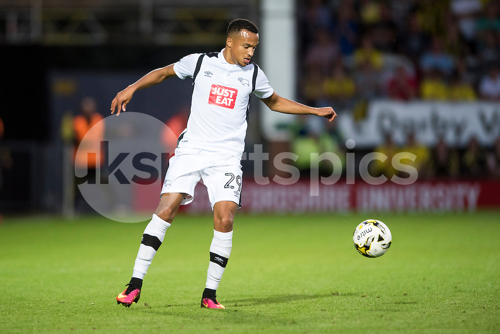 Marcus Olsson of Derby County in action during the EFL Sky Bet Championship match between Burton Albion and Derby County at the Pirelli Stadium, Burton upon Trent, England on 26 August 2016. Photo by Brandon Griffiths.
