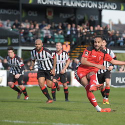 TELFORD COPYRIGHT MIKE SHERIDAN 6/4/2019 - GOAL. Brendon Daniels of AFC Telford scores from the spot to make it 1-1 during the Vanarama Conference North fixture between Chorley FC and AFC Telford United at Victory Park