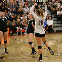 (Photograph by Bill Gerth for SVCN) Los Gatos #5 Hannah Whitney, #1 Skyler McKinnon and #10 Caroline Bond celebrate during a match vs Carlmont in a CCS Division 1 Semi Final Girls Volleyball Game at Los Gatos High School, Los Gatos CA on 11/9/16.  (Los Gatos defeated Carlmont 3-0, 25-21, 25-17, 25-16)