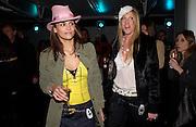 Lauren Kirkwood ( black fur)  and Chloe Bailey (pink hat), Xelibri mobile phone launch, Old Billingsgate Market, 15 February 2003. © Copyright Photograph by Dafydd Jones 66 Stockwell Park Rd. London SW9 0DA Tel 020 7733 0108 www.dafjones.com