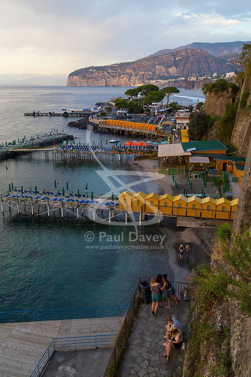 Sorrento, Italy, September 16 2017. Bathing huts on jetties  in Marina Santo Francesco in Sorrento, Italy. © Paul Davey