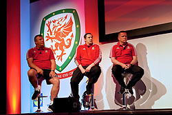 NEWPORT, WALES - Sunday, May 28, 2017: Bala Town's Colin Caton, Prestatyn Town's Neil Gibson and Llandudno's Alan Morgan during day three of the Football Association of Wales' National Coaches Conference 2017 at the Celtic Manor Resort. (Pic by David Rawcliffe/Propaganda)