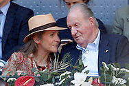 Infanta Elena, Duchess of Lugo and Juan Carlos I of Spain during day two of the Madrid Open at Manzanares Park Tennis Centre, Madrid<br /> Picture by EXPA Pictures/Focus Images Ltd 07814482222<br /> 03/05/2016<br /> ***UK &amp; IRELAND ONLY***<br /> EXPA-ESP-160503-0057.jpg