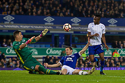 LIVERPOOL, ENGLAND - Saturday, January 7, 2017: Leicester City's Ahmed Musa scores the first equalising goal against Everton as Leighton Baines and goalkeeper Joel Robles dive in during the FA Cup 3rd Round match at Goodison Park. (Pic by David Rawcliffe/Propaganda)