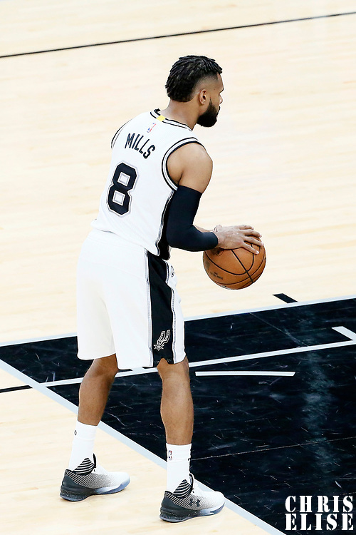 01 May 2017: San Antonio Spurs guard Patty Mills (8) is seen at the free throw line during the Houston Rockets 126-99 victory over the San Antonio Spurs, in game 1 of the Western Conference Semi Finals, at the AT&T Center, San Antonio, Texas, USA.