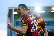 Bradford City defender Anthony McMahon (29) scores a goal and celebrates with Bradford City defender Anthony McMahon (29)  to make the score 1-2 during the EFL Sky Bet League 1 match between Oldham Athletic and Bradford City at Boundary Park, Oldham, England on 28 January 2017. Photo by Simon Davies.