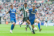 Paul Robinson of AFC Wimbledon holds off Jamille Matt of Plymouth Argyle during the Sky Bet League 2 Play-off Final at Wembley Stadium, London<br /> Picture by Matt Wilkinson/Focus Images Ltd 07814 960751<br /> 30/05/2016