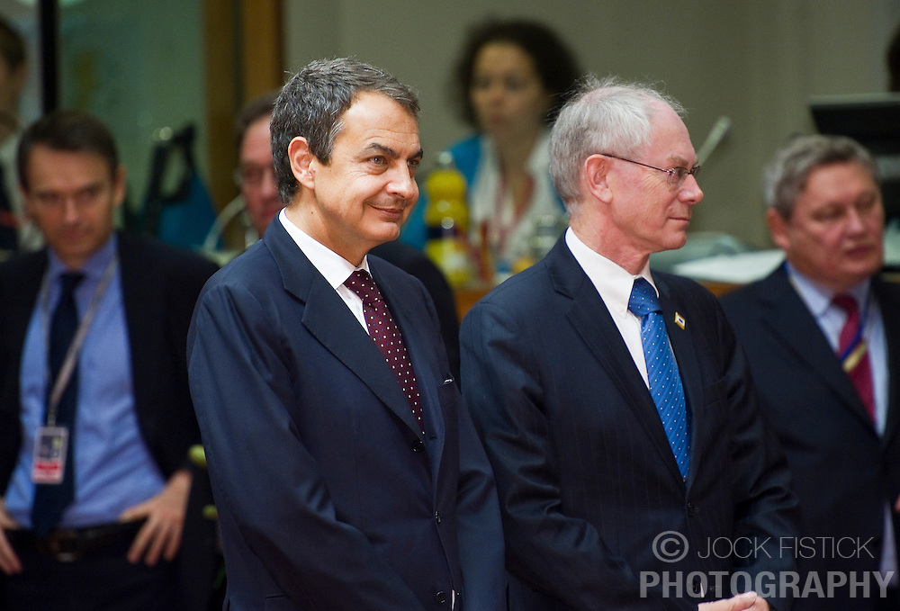 Jose Zapatero, Spain's prime minister, left, and Herman Van Rompuy, president of the European Council, center, arrive for the European Summit meeting at EU Council headquarters in Brussels, Belgium, on Thursday, June 17, 2010. (Photo © Jock Fistick)