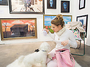 ELEANOR LINDSAY-FYNN; WITH HER DOG MUCKLIN, The Other Art Fair. Truman Brewery. Brick Lane, . London. 18 October 2013