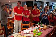 Football fans from Russia and Spain watch together their national team's Russia 2018 World Cup round of sixteen match. Irun (Basque Country). June 24, 2018. (Gari Garaialde / BostokPhoto)
