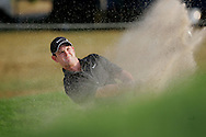 South African golfer Rory Sabbatini hits his ball out of a bunker during the first round of the 2005 PGA Championship at Baltusrol Golf Club in Springfield, New Jersey, Thursday 11 August 2005. Sabbatini fniished tied for first place after the first day with 3 strokes under par.