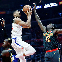 08 January 2018: LA Clippers forward Wesley Johnson (33) goes for the layup against Atlanta Hawks forward Taurean Prince (12) during the LA Clippers 108-107 victory over the Atlanta Hawks, at the Staples Center, Los Angeles, California, USA.