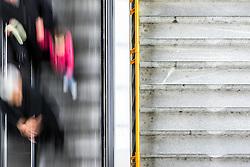 THEMENBILD - Die Wiener Linien sind der städtische Verkehrsbetrieb der österreichischen Bundeshauptstadt Wien. Die U-Bahn-Linie U6 gehört dabei zum Netz der Wiener U-Bahn und verbindet den Bezirkteil Siebenhirten mit Bezirk Floridsdorf, im Bild Fahrgäste auf einer Rolltreppe. Aufgenommen am 19. Februar 2017 // The Wiener Linien are the city traffic enterprise of the federal capital of Austria Vienna. The metro line U6 is part of the metro network of Vienna and connects Siebenhirten with Floridsdorf, This picture shows passengers on a moving staircase , Vienna, Austria on 2017/02/19. EXPA Pictures © 2017, PhotoCredit: EXPA/ Sebastian Pucher