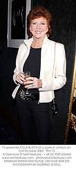 TV presenter CILLA BLACK at a party in London on 21st October 2002.<br />PEH 12
