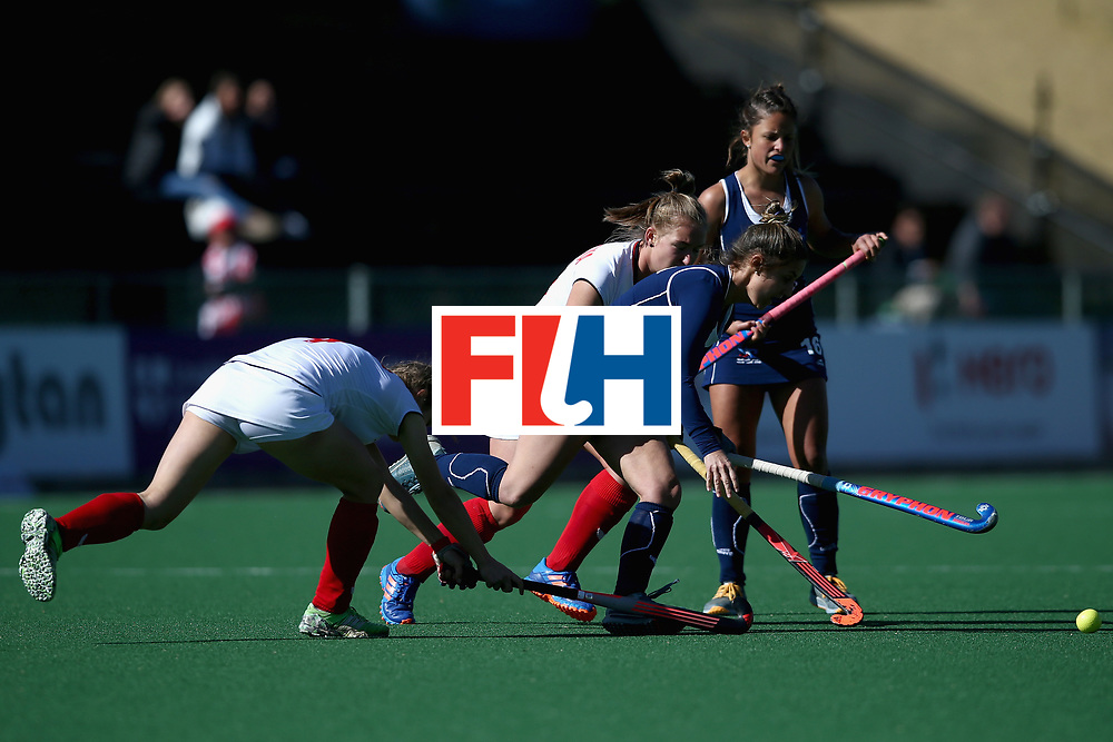 JOHANNESBURG, SOUTH AFRICA - JULY 20: Carolina Garcia of Chile and Weronika Wessolowska of Poland battle for possession during the 9th/10th Place playoff match between Poland and Chile during Day 7 of the FIH Hockey World League - Women's Semi Finals on July 20, 2017 in Johannesburg, South Africa.  (Photo by Jan Kruger/Getty Images for FIH)