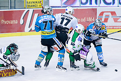 In front of Matija Pintaric (HDD Tilia Olimpija, #69) goal during ice-hockey match between HDD Tilia Olimpija and EHC Liwest Black Wings Linz in 37th Round of EBEL league, on Januar 9, 2011 at Hala Tivoli, Ljubljana, Slovenia. (Photo By Matic Klansek Velej / Sportida.com)