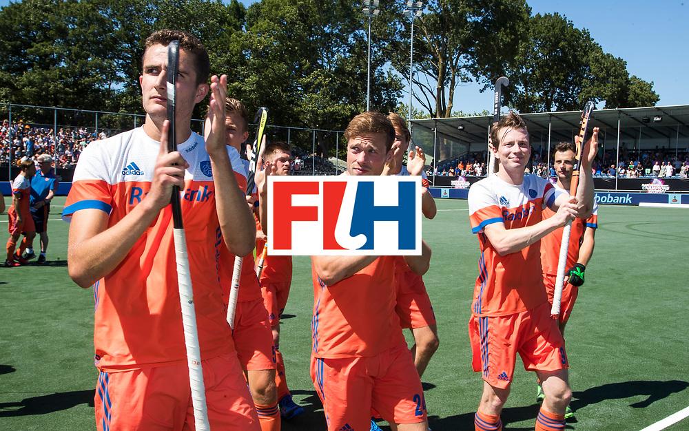 BREDA -  Jonas de Geus (Ned), Roel Bovendeert (Ned) Seve van Ass (Ned)  na  de wedstrijd om brons tussen Nederland en Argentinie (2-0) bij de Hockey Champions Trophy.  COPYRIGHT KOEN SUYK