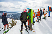 A gang of bladers takes in the views off Oly Bowl