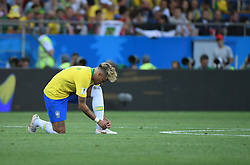 ROSTOV-ON-DON, June 17, 2018  Neymar of Brazil ties his shoe during a group E match between Brazil and Switzerland at the 2018 FIFA World Cup in Rostov-on-Don, Russia, June 17, 2018. (Credit Image: © Li Ga/Xinhua via ZUMA Wire)