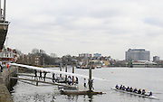 London. Great Britain, General Views. Crews Boating at Sons of the Thames Boathouse and slipway. 2010 Women's Head of the River Race, Raced over the reverse Championship Course, Chiswick to Putney, River Thames, England,  Saturday   13/03/2010 [Mandatory Credit. Peter Spurrier/Intersport Images]