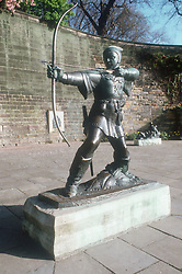 Statue of Robin Hood in castle grounds,