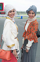29/07/2014 Sara and Amy from Saudi Arabia at the Tuesday evening meeting of the Galway Summer racing Festival. Photo: Andrew Downes