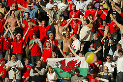 OSLO, NORWAY - Thursday, May 27, 2004:  Wales fans enjoy the sunshine during the International Friendly match at the Ullevaal Stadium, Oslo, Norway. (Photo by David Rawcliffe/Propaganda)