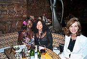 PRINCESS SHAHEERA ASANTE; DR. JUNE BAM; LYNETTE ESPOSITO, Opening of London's largest South african restaurant: Shaka Zulu. Stables amrket. Camden. London. 4 August 2010. <br /> -DO NOT ARCHIVE-© Copyright Photograph by Dafydd Jones. 248 Clapham Rd. London SW9 0PZ. Tel 0207 820 0771. www.dafjones.com.