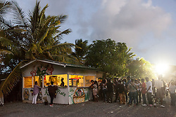 Many vegan vendors saw long lines throughout the day like this one at Ailah's Place.  20th Annual Bordeaux Farmers Rastafari Agricultural & Cultural Vegan Food Fair.  Bordeaux Farmers Market.  St. Thomas, USVI.  14 January 2017.  © Aisha-Zakiya Boyd