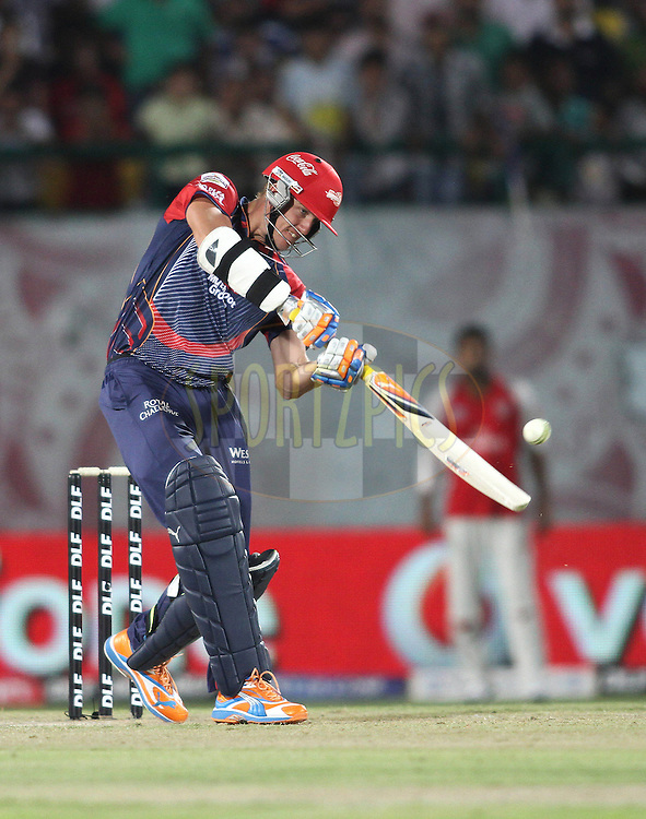 Morne Morkel of the Delhi Daredevils attacks a delivery during match 60 of the Indian Premier League ( IPL ) Season 4 between the Kings XI Punjab and the Delhi Daredevils held at the The HPCA Stadium in Dharamsala, Himachal Pradesh, India on the 15th May 2011..Photo by Shaun Roy/BCCI/SPORTZPICS