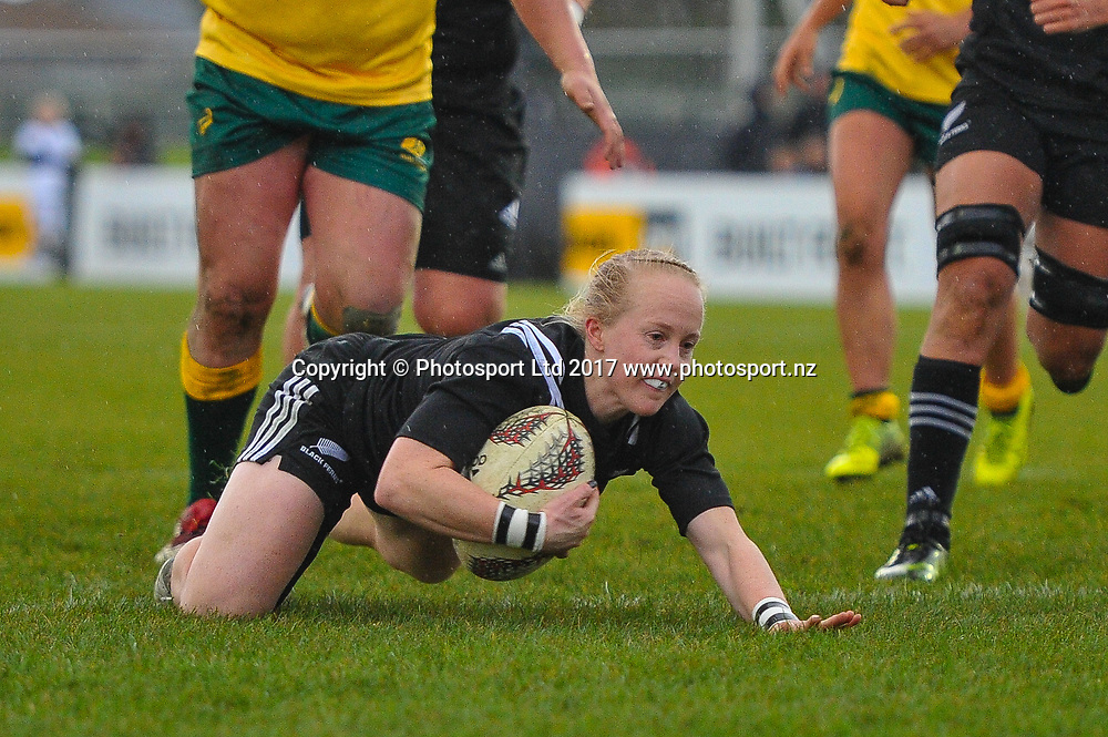 Kendra Cocksedge of the Black Ferns scores a try during the Womens Rugby International, Black Ferns V Australia, Rugby Park, Christchurch, New Zealand, 13th June, 2017.Copyright photo: John Davidson / www.photosport.nz