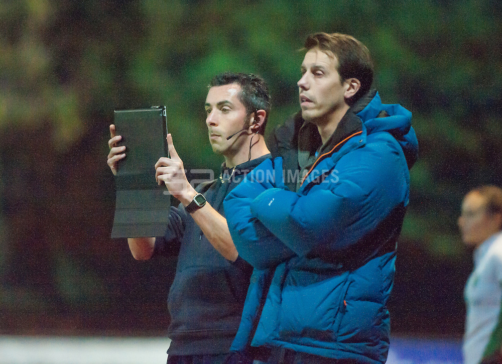 Surbiton coached Brett Garrard & Mark Atherton. Canterbury v Surbiton - Investec Women's Hockey League - Premier Division, Polo Farm, Canterbury, UK on 22 November 2014. Photo: Simon Parker