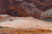 A lone Nevada bighorn ram walks along the colorful petrified sand dunes that create the unique landscape of Valley of Fire state park in Southern Nevada about 2 hours outside of Las Vegas.