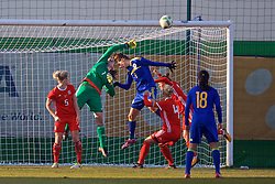 ZENICA, BOSNIA AND HERZEGOVINA - Tuesday, November 28, 2017: Wales' goalkeeper Laura O'Sullivan during the FIFA Women's World Cup 2019 Qualifying Round Group 1 match between Bosnia and Herzegovina and Wales at the FF BH Football Training Centre. (Pic by David Rawcliffe/Propaganda)