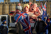 As Prime Minister Theresa May tours European capitals hoping to persuade foreign leaders to accept a new Brexit deal (following her cancellation of a Parliamentary vote), pro-EU Remainers protest with satirical figures of Theresa May, Boris Johnson, Michael Gove and David Davies, opposite the Houses of Parliament, on 11th December 2018, in London, England.