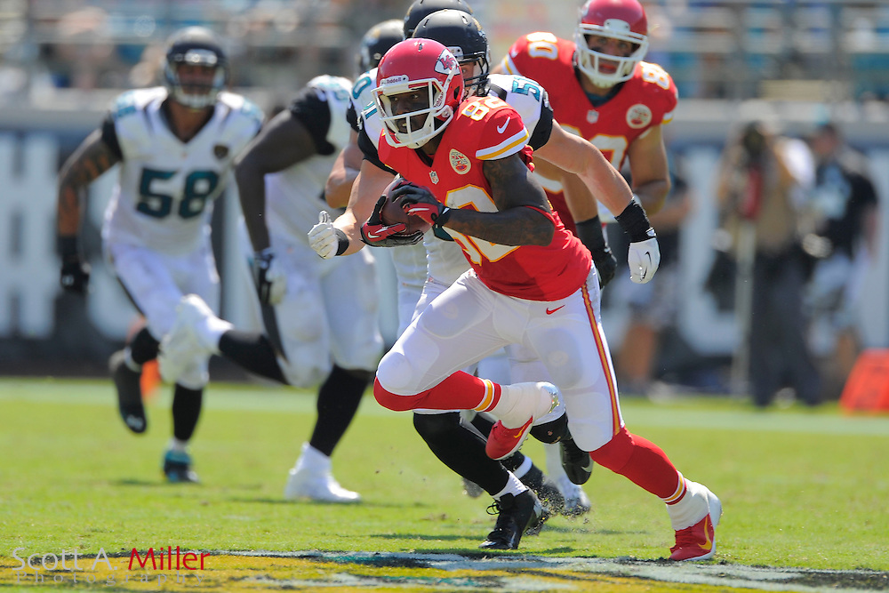 Kansas City Chiefs wide receiver Dwayne Bowe (82) runs upfield as Jacksonville Jaguars middle linebacker Paul Posluszny (51) gives chase during the Chiefs 28-2 win at EverBank Field on Sept. 8, 2013 in Jacksonville, Florida. The <br /> <br /> &copy;2013 Scott A. Miller