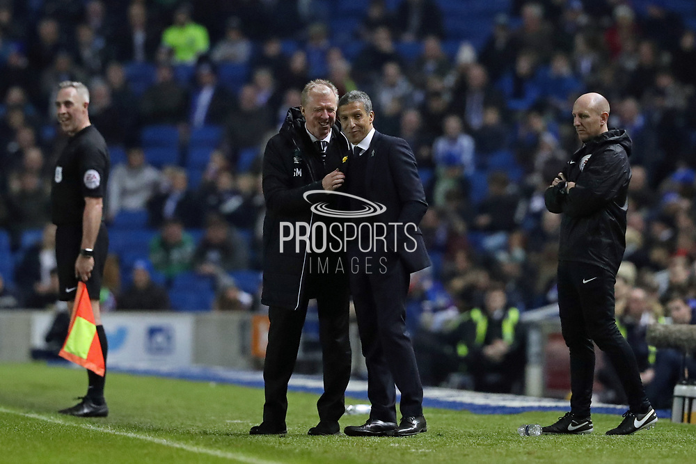 Brighton Manager, Chris Hughton and Derby County Manager Steve McClaren during the EFL Sky Bet Championship match between Brighton and Hove Albion and Derby County at the American Express Community Stadium, Brighton and Hove, England on 10 March 2017.