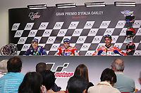 Maverick Vinales of Spain and Movistar Yamaha MotoGP second, Andrea Dovizioso of Italy and Ducati Team winner, Danilo Petrucci of Italy and OCTO Pramac Racing third, during the press conference after MotoGP Italy Grand Prix 2017 at Autodromo del Mugello, Florence, Italy on 4th June 2017. Photo by Danilo D'Auria.<br /> <br /> Danilo D'Auria/UK Sports Pics Ltd/Alterphotos