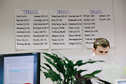 A list of Democratic political targets are taped to the wall in the war room of America Rising, a political action committee out of Rosslyn, Va. that was started in April by Republican operatives Tim Miller, Joe Pounder and Matt Rhoades.