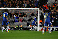 Picture by Paul Chesterton/Focus Images Ltd +44 7904 640267.02/05/2013.Victor Moses of Chelsea scores his sides 2nd goal and celebrates during the UEFA Europa League match at Stamford Bridge, London.