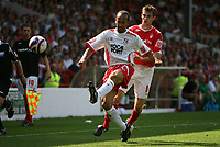 Photo: Rich Eaton. <br /> <br /> Nottingham Forest v AFC Bournemouth. Coca Cola Championship. 11/08/2007. Forest's Scott Dobie (r) tries to get to the ball ahead of Bournemouth's Josh Gowling (l).