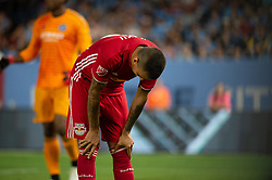 July 8, 2018 - Bronx, New York, United States - New York Red Bulls midfielder ALEJANDRO ROMERO GAMARRA (10) bent over and upset over a missed shot during a regular season match at Yankee Stadium in Bronx, NY.  New York City FC defeats the New York Red Bulls 1 to 0 (Credit Image: © Mark Smith via ZUMA Wire)